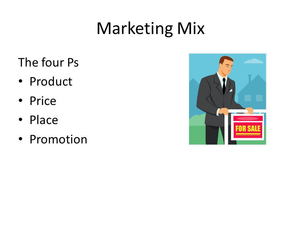 Marketing Mix The four Ps Product Price Place Promotion