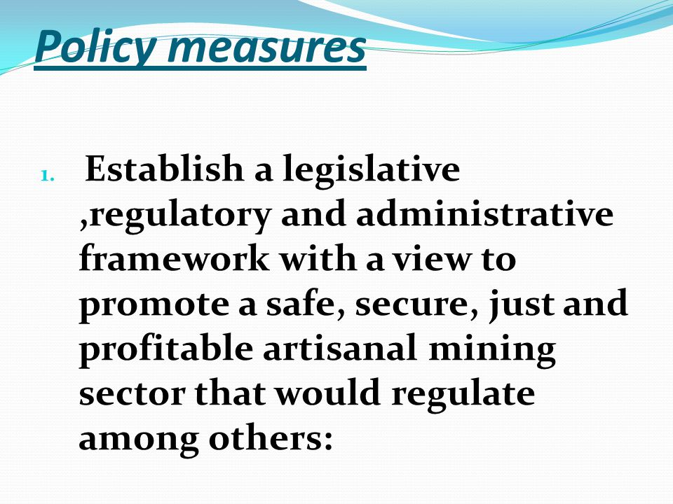 Policy measures 1.