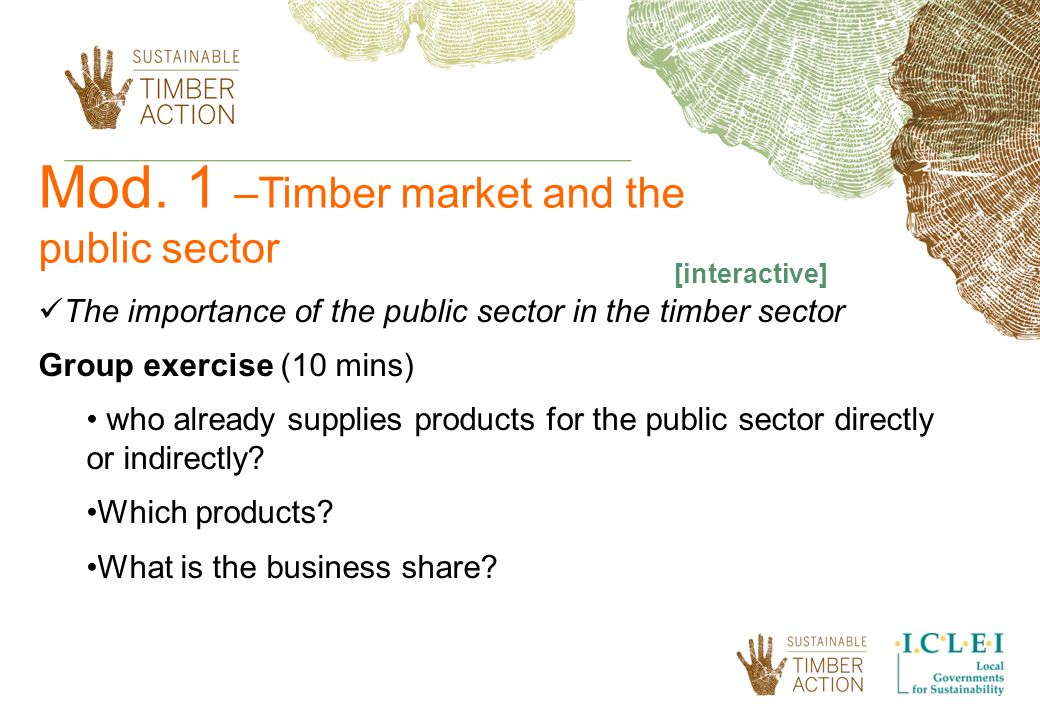 Mod. 1 –Timber market and the public sector [interactive] The importance of the public sector in the timber sector Group exercise (10 mins) who alread