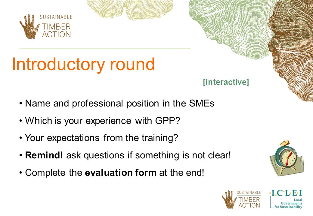 Introductory round Name and professional position in the SMEs Which is your experience with GPP.
