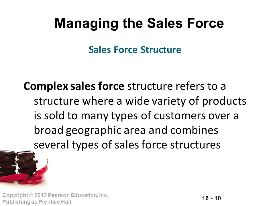 16 - 10 Copyright © 2012 Pearson Education, Inc. Publishing as Prentice Hall Managing the Sales Force Complex sales force structure refers to a struct