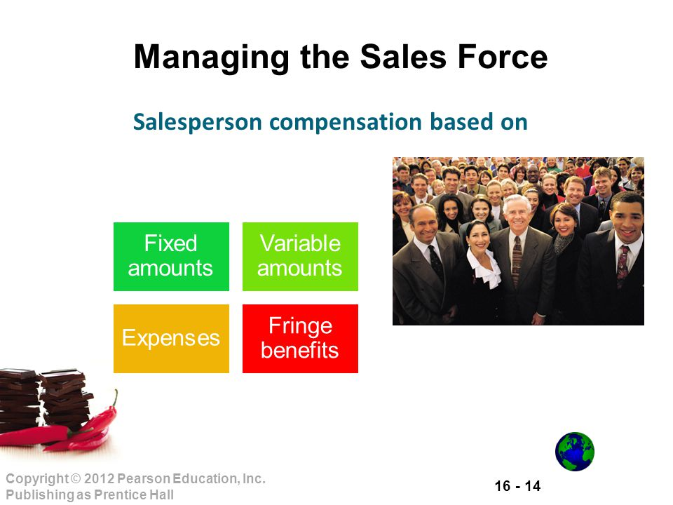 16 - 14 Copyright © 2012 Pearson Education, Inc. Publishing as Prentice Hall Managing the Sales Force Fixed amounts Variable amounts Expenses Fringe b