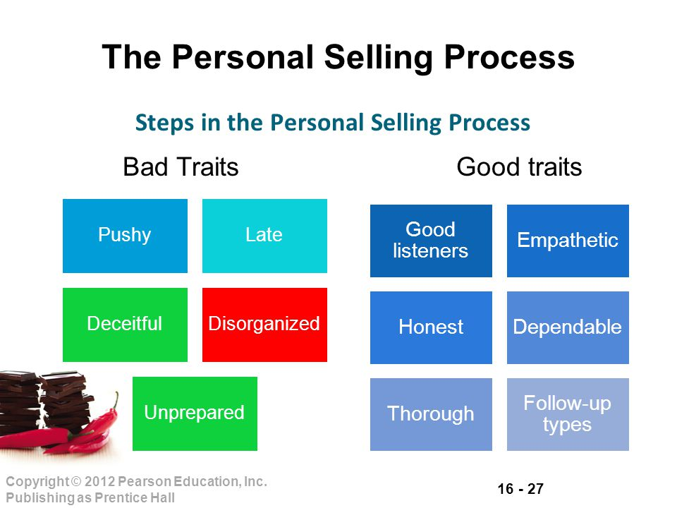 16 - 27 Copyright © 2012 Pearson Education, Inc. Publishing as Prentice Hall The Personal Selling Process PushyLate DeceitfulDisorganized Unprepared S