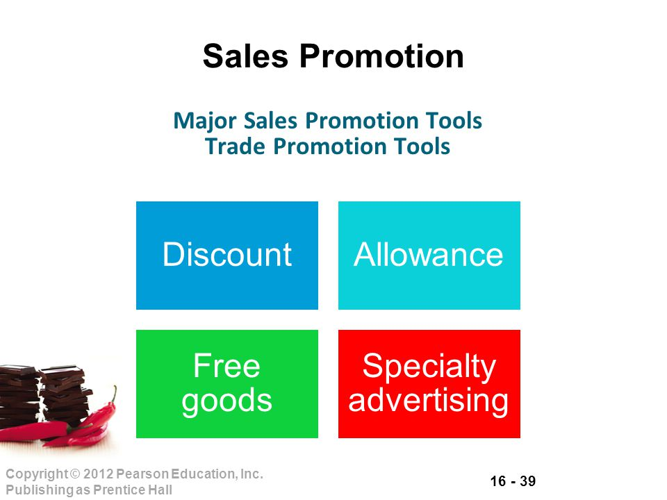 16 - 39 Copyright © 2012 Pearson Education, Inc. Publishing as Prentice Hall Sales Promotion DiscountAllowance Free goods Specialty advertising Major