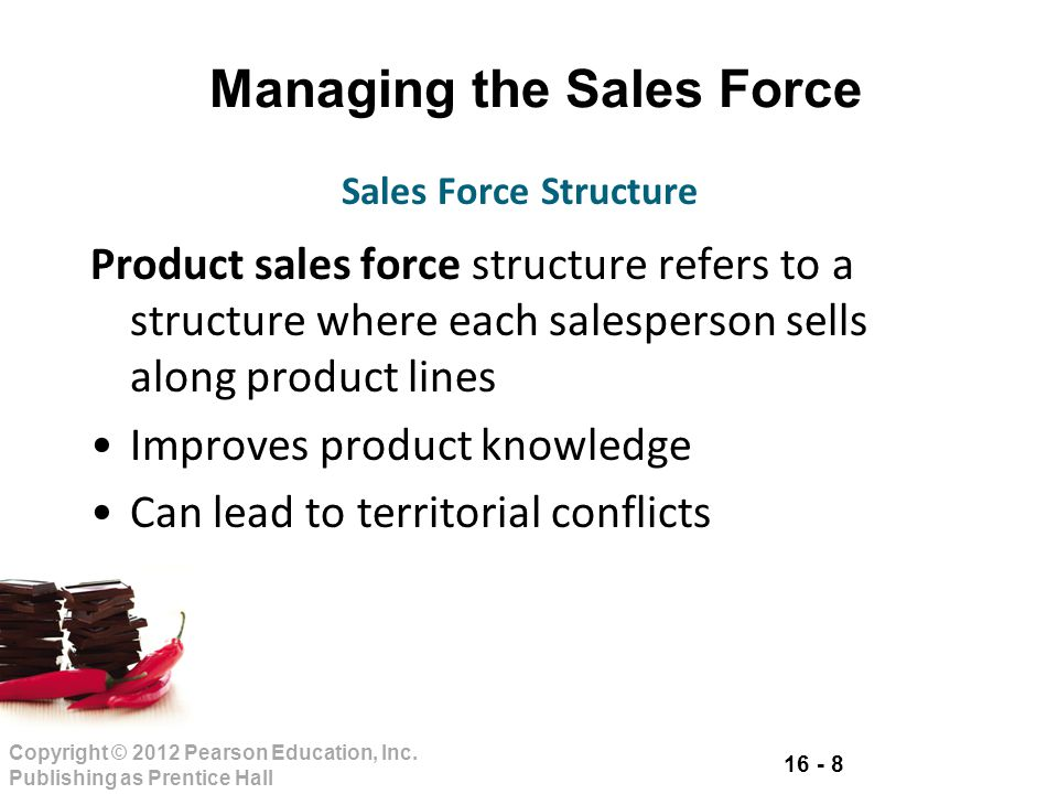16 - 8 Copyright © 2012 Pearson Education, Inc. Publishing as Prentice Hall Managing the Sales Force Product sales force structure refers to a structu