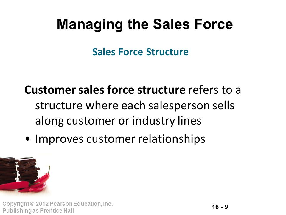 16 - 9 Copyright © 2012 Pearson Education, Inc. Publishing as Prentice Hall Managing the Sales Force Customer sales force structure refers to a struct