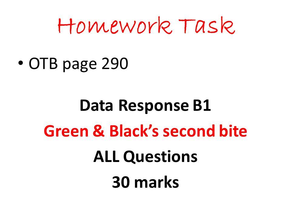 Homework Task OTB page 290 Data Response B1 Green & Blacks second bite ALL Questions 30 marks