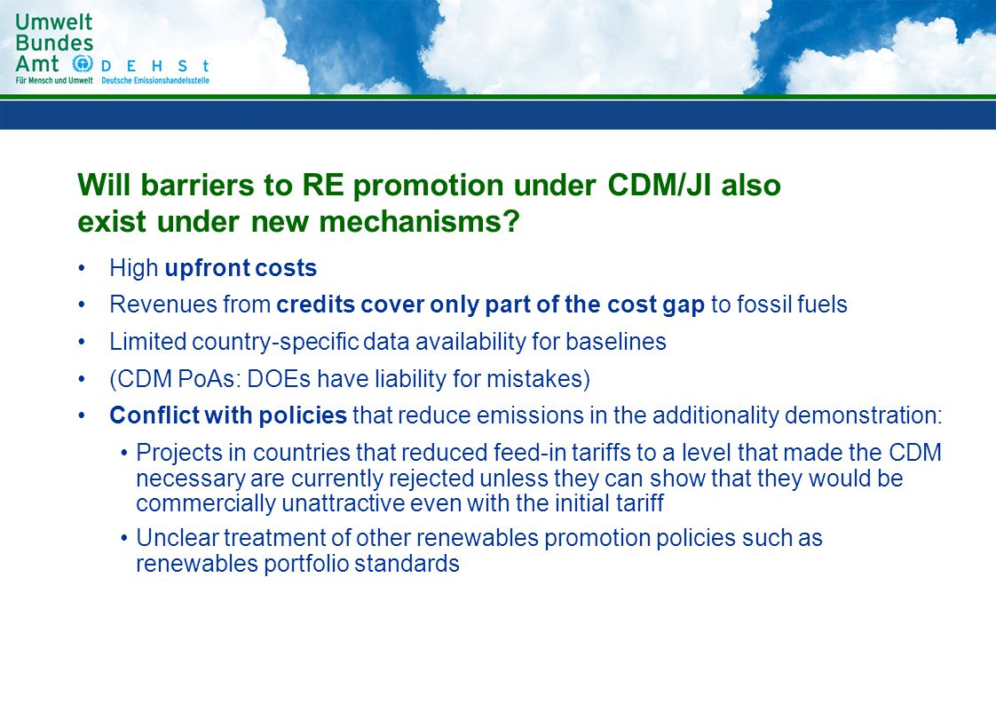 Will barriers to RE promotion under CDM/JI also exist under new mechanisms.