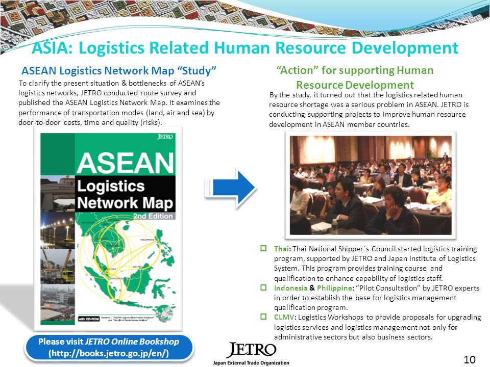 ASIA: Logistics Related Human Resource Development ASEAN Logistics Network Map Study To clarify the present situation & bottlenecks of ASEANs logistics networks, JETRO conducted route survey and published the ASEAN Logistics Network Map.