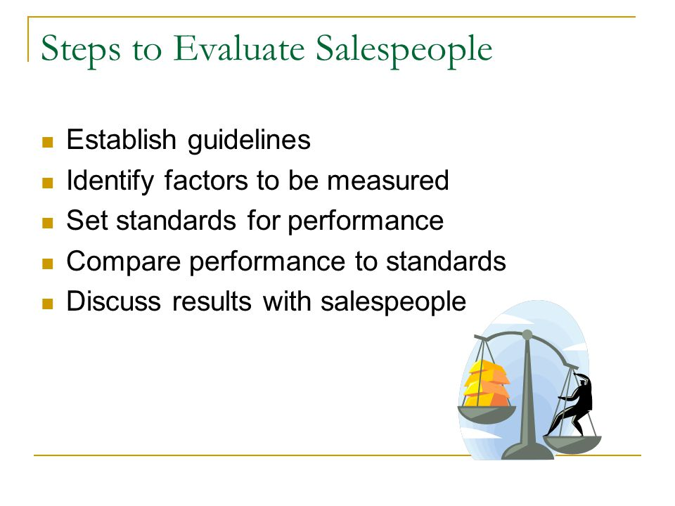 Steps to Evaluate Salespeople Establish guidelines Identify factors to be measured Set standards for performance Compare performance to standards Discuss results with salespeople