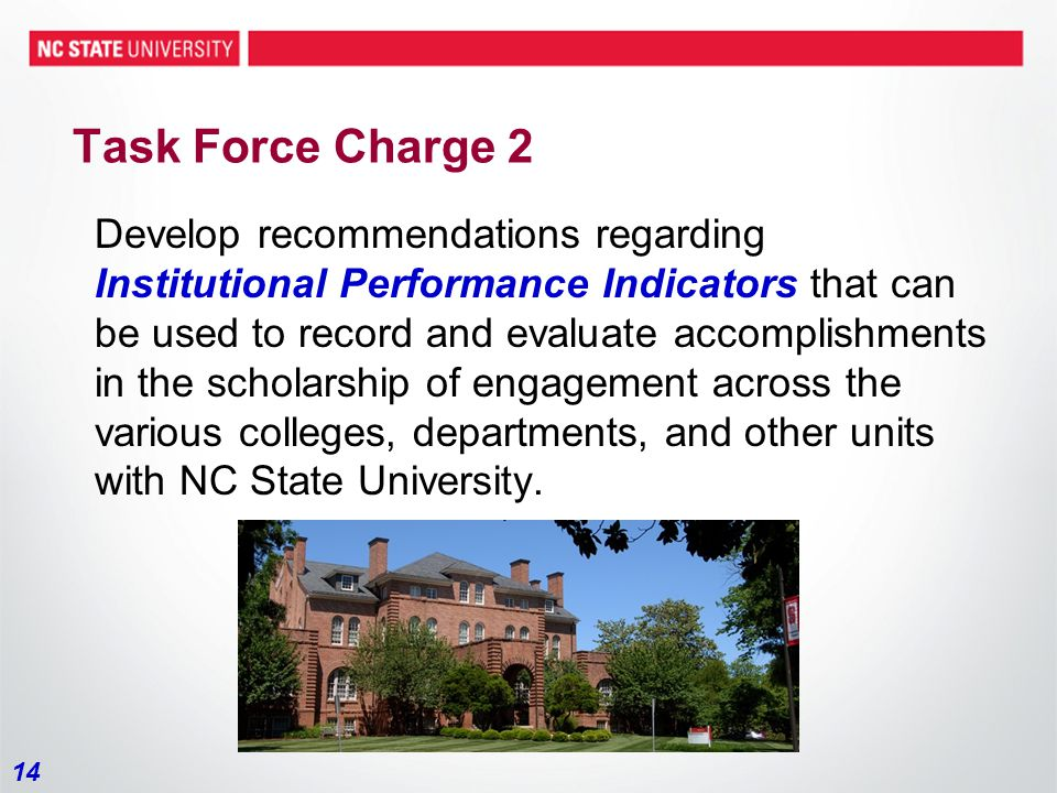 14 Task Force Charge 2 Develop recommendations regarding Institutional Performance Indicators that can be used to record and evaluate accomplishments in the scholarship of engagement across the various colleges, departments, and other units with NC State University.