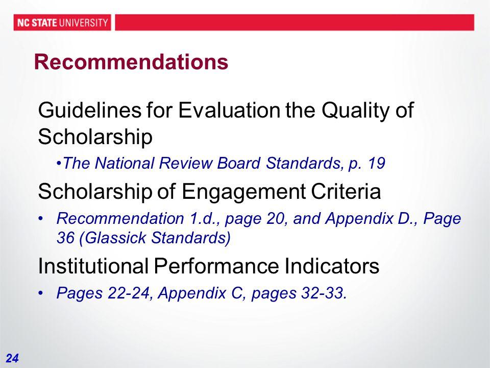 24 Recommendations Guidelines for Evaluation the Quality of Scholarship The National Review Board Standards, p.