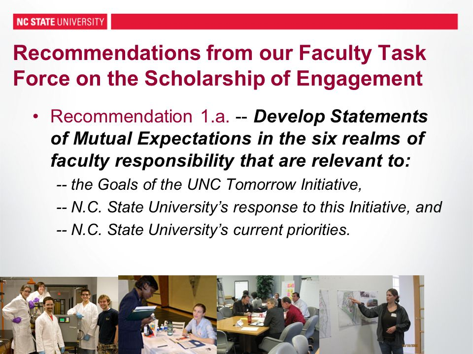 33 Recommendations from our Faculty Task Force on the Scholarship of Engagement Recommendation 1.a.