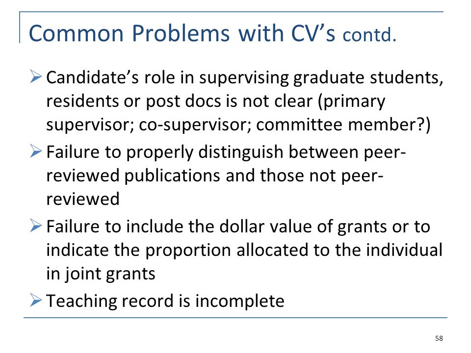 Common Problems with CVs contd.