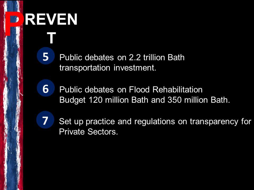 REVEN T P Public debates on Flood Rehabilitation Budget 120 million Bath and 350 million Bath. 6 Public debates on 2.2 trillion Bath transportation in