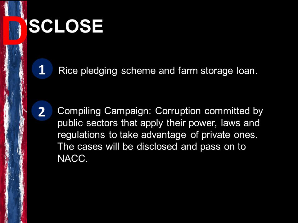 Rice pledging scheme and farm storage loan. Compiling Campaign: Corruption committed by public sectors that apply their power, laws and regulations to