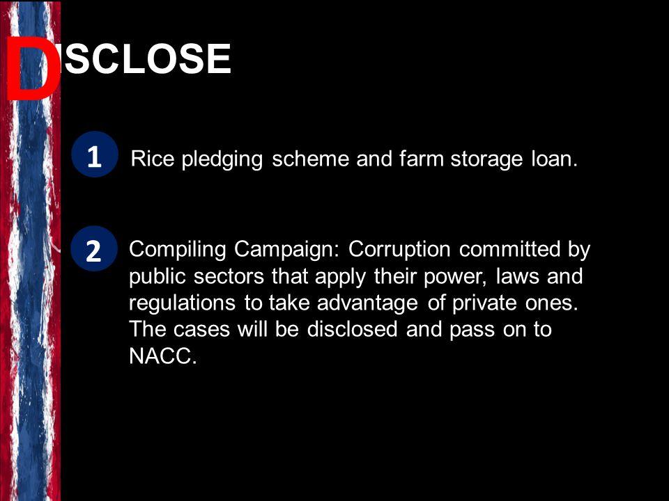 Rice pledging scheme and farm storage loan.