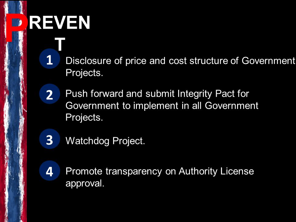 REVEN T Disclosure of price and cost structure of Government Projects.