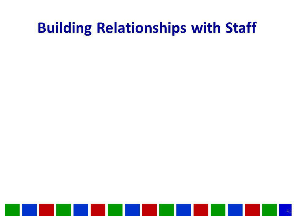 Building Relationships with Staff 41