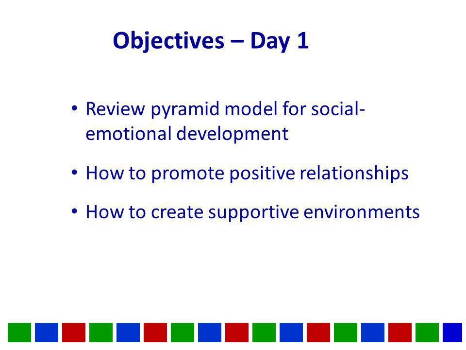 Objectives – Day 1 Review pyramid model for social- emotional development How to promote positive relationships How to create supportive environments