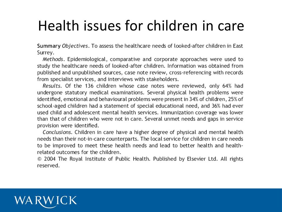 Health issues for children in care