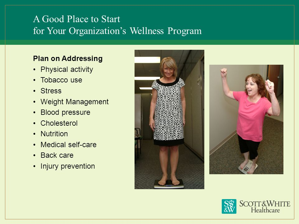 A Good Place to Start for Your Organizations Wellness Program Plan on Addressing Physical activity Tobacco use Stress Weight Management Blood pressure