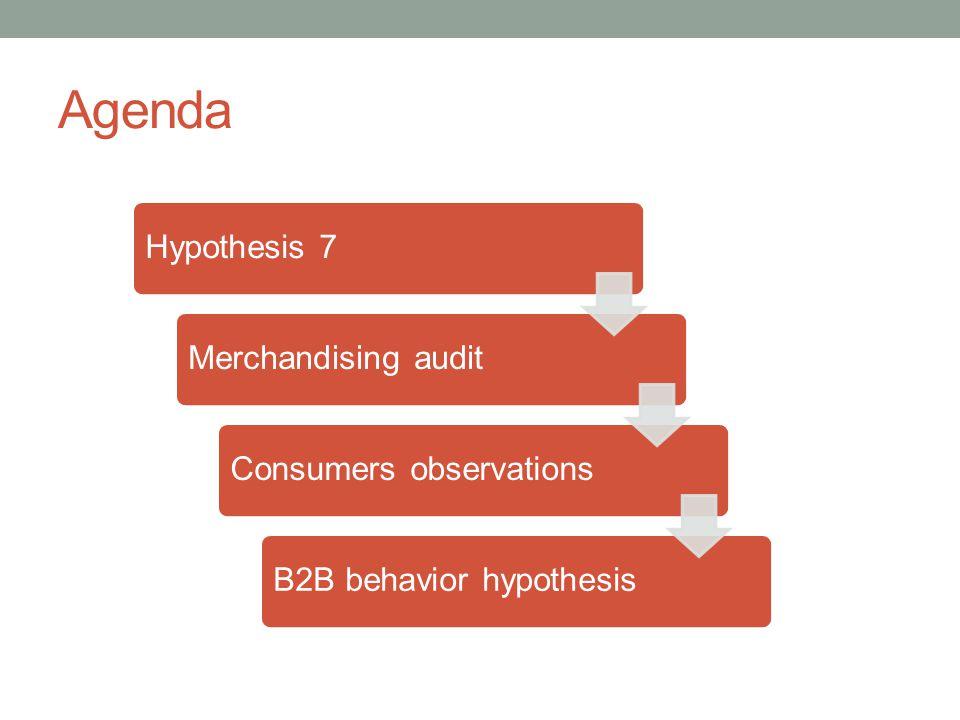 Agenda Hypothesis 7Merchandising auditConsumers observationsB2B behavior hypothesis