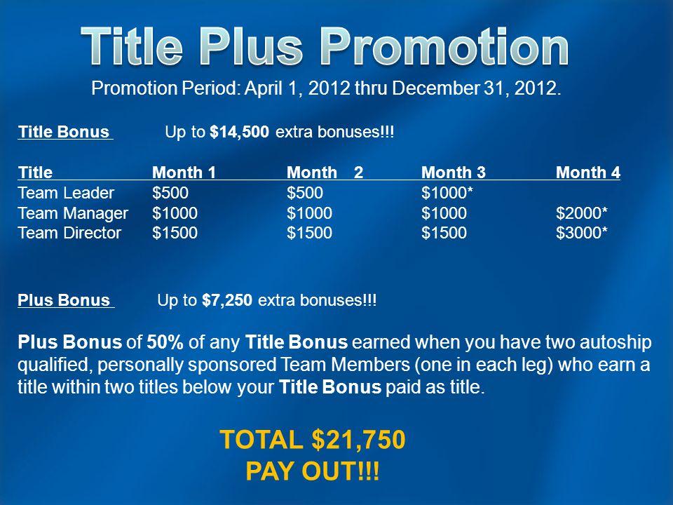 Promotion Period: April 1, 2012 thru December 31, 2012.