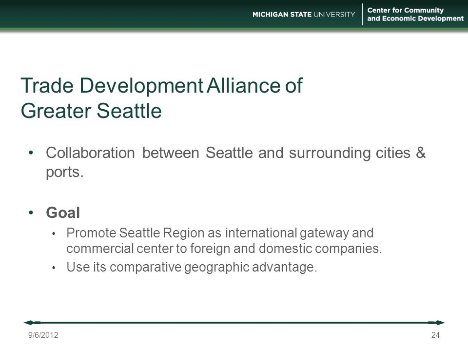 Trade Development Alliance of Greater Seattle 24 Collaboration between Seattle and surrounding cities & ports.