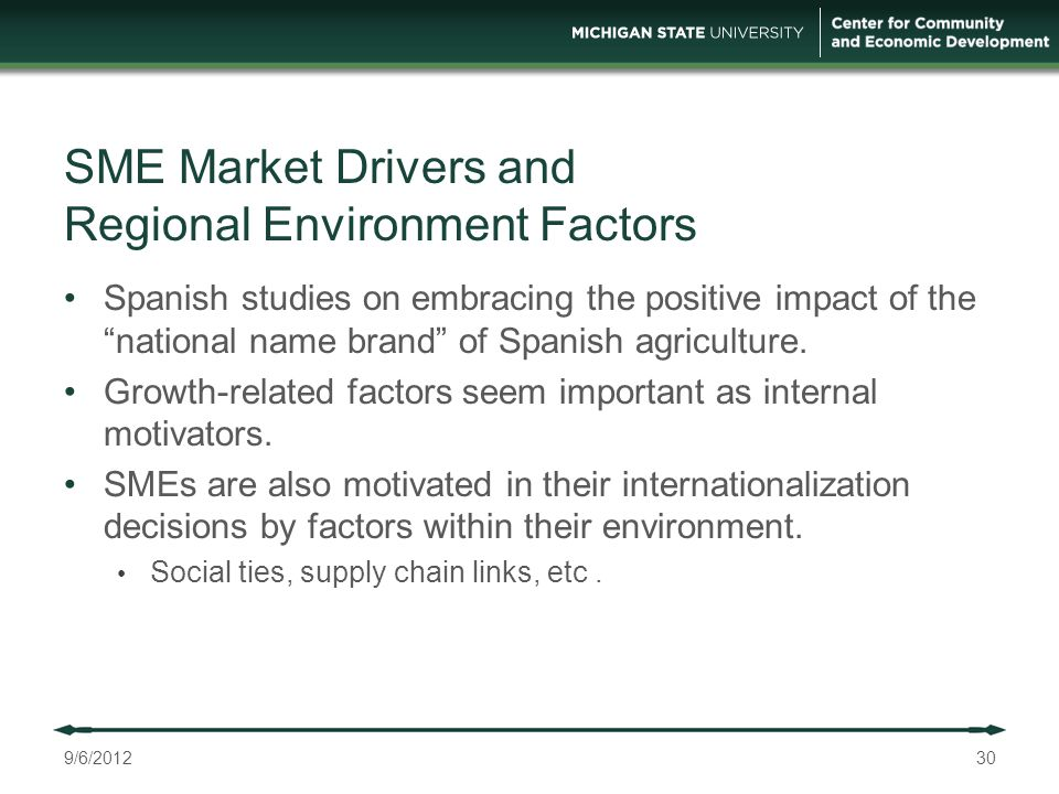 SME Market Drivers and Regional Environment Factors Spanish studies on embracing the positive impact of the national name brand of Spanish agriculture.