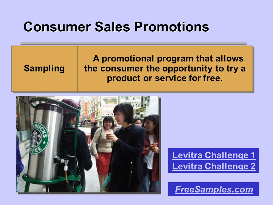 Consumer Sales Promotions Sampling A promotional program that allows the consumer the opportunity to try a product or service for free.