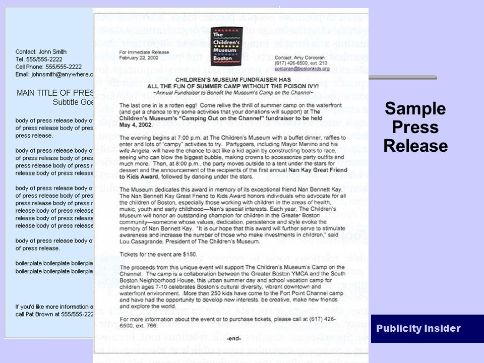 Sample Press Release Publicity Insider