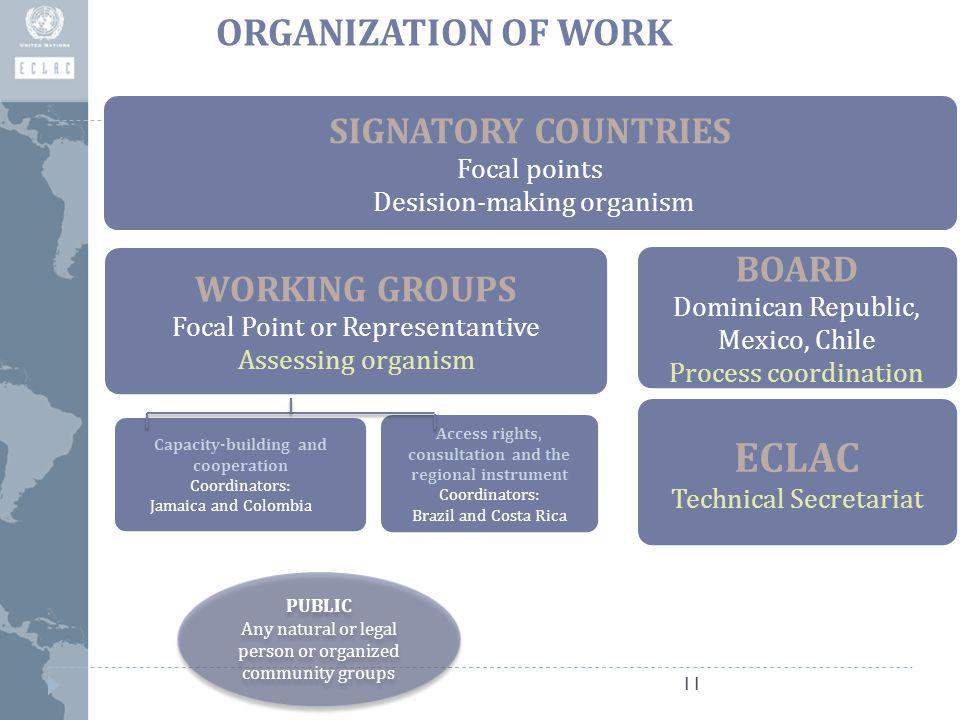 ORGANIZATION OF WORK 11 SIGNATORY COUNTRIES Focal points Desision-making organism WORKING GROUPS Focal Point or Representantive Assessing organism Capacity-building and cooperation Coordinators: Jamaica and Colombia Access rights, consultation and the regional instrument Coordinators: Brazil and Costa Rica BOARD Dominican Republic, Mexico, Chile Process coordination ECLAC Technical Secretariat PUBLIC Any natural or legal person or organized community groups PUBLIC Any natural or legal person or organized community groups