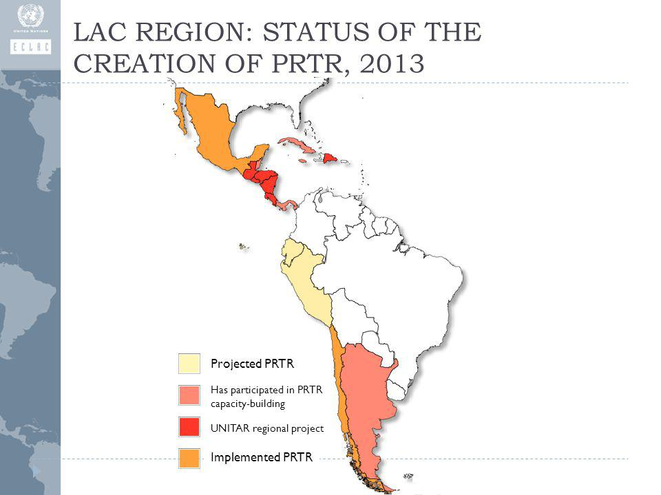 LAC REGION: STATUS OF THE CREATION OF PRTR, 2013 Projected PRTR Has participated in PRTR capacity-building UNITAR regional project Implemented PRTR