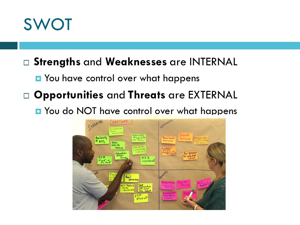 SWOT Strengths and Weaknesses are INTERNAL You have control over what happens Opportunities and Threats are EXTERNAL You do NOT have control over what happens