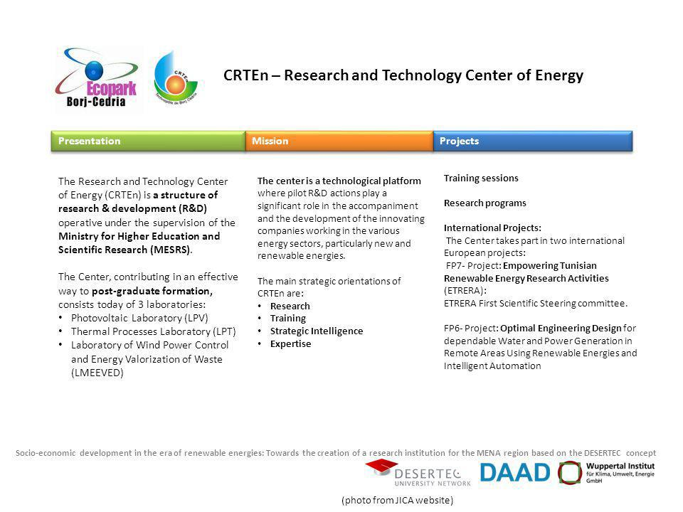 Socio-economic development in the era of renewable energies: Towards the creation of a research institution for the MENA region based on the DESERTEC