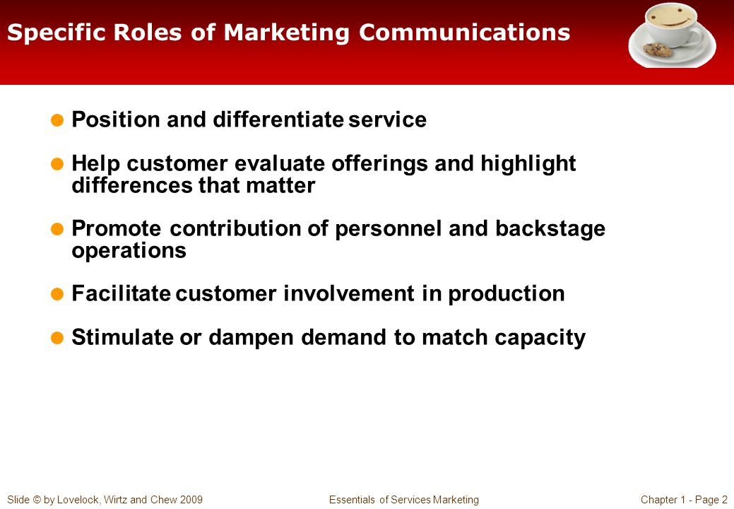 Slide © by Lovelock, Wirtz and Chew 2009 Essentials of Services MarketingChapter 1 - Page 2 Specific Roles of Marketing Communications Position and di
