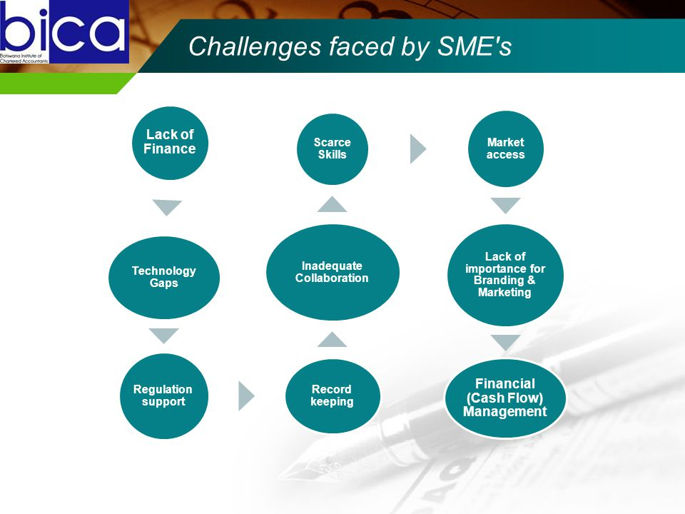 Challenges faced by SME s Lack of Finance Technology Gaps Regulation support Record keeping Inadequate Collaboration Scarce Skills Market access Lack of importance for Branding & Marketing Financial (Cash Flow) Management