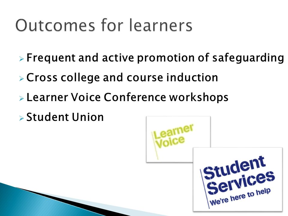 Frequent and active promotion of safeguarding Cross college and course induction Learner Voice Conference workshops Student Union