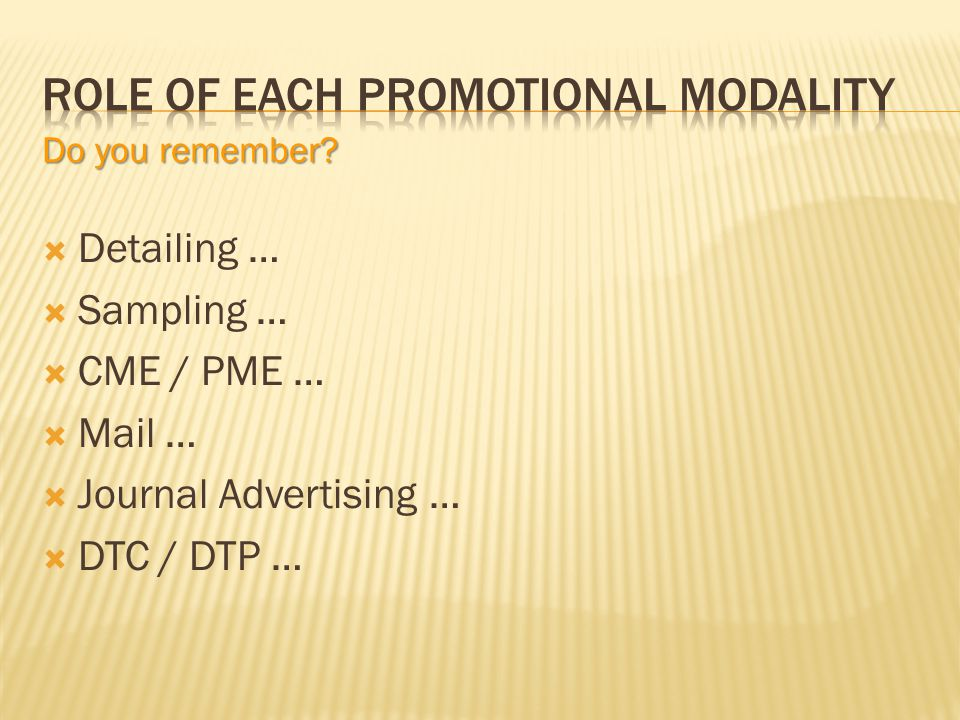 Detailing … Sampling … CME / PME … Mail … Journal Advertising … DTC / DTP … Do you remember?