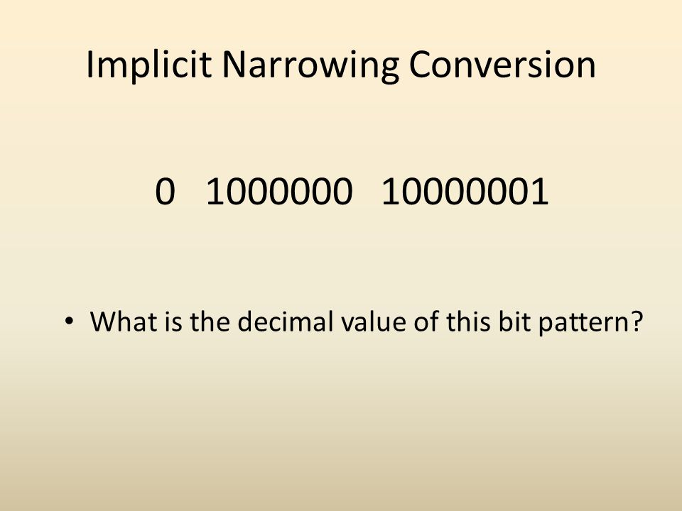 Implicit Narrowing Conversion 0 1000000 10000001 What is the decimal value of this bit pattern?