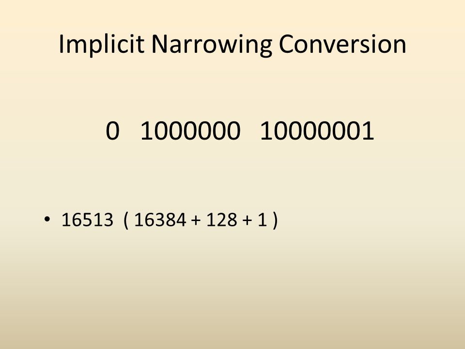Implicit Narrowing Conversion 0 1000000 10000001 16513 ( 16384 + 128 + 1 )