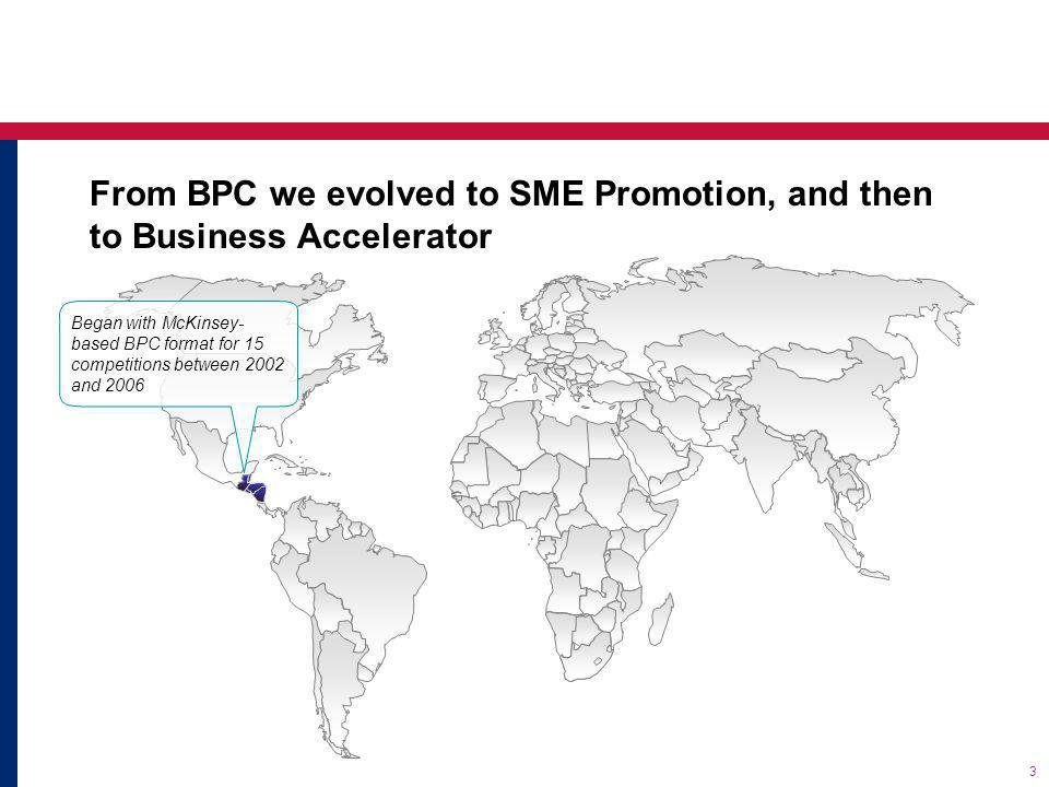 4 From BPC we evolved to SME Promotion, and then to Business Accelerator Follow up of Central America effort began in 2003