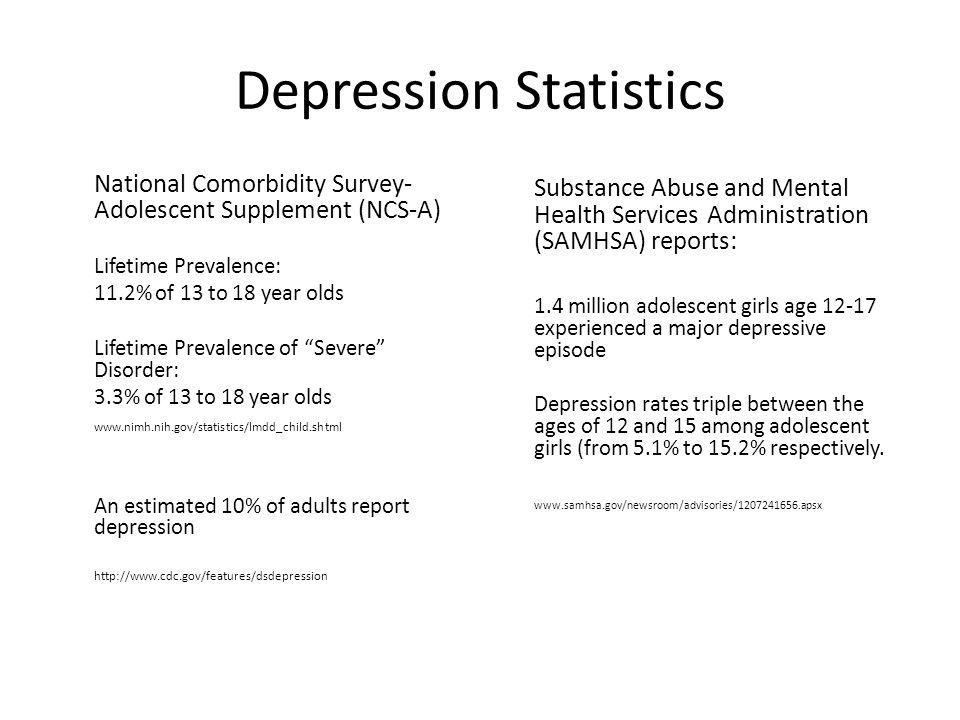 Depression Statistics National Comorbidity Survey- Adolescent Supplement (NCS-A) Lifetime Prevalence: 11.2% of 13 to 18 year olds Lifetime Prevalence