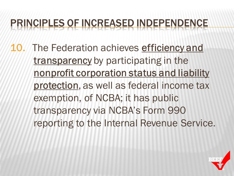 10. The Federation achieves efficiency and transparency by participating in the nonprofit corporation status and liability protection, as well as fede