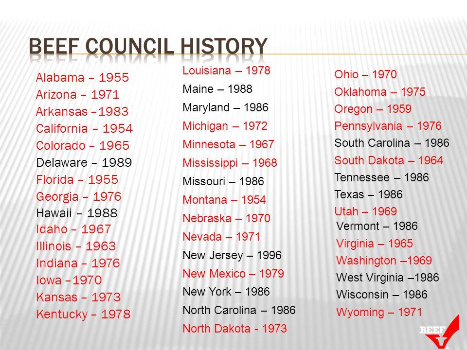 Alabama – 1955 Arizona – 1971 Arkansas –1983 California – 1954 Colorado – 1965 Delaware – 1989 Florida – 1955 Georgia – 1976 Hawaii – 1988 Idaho – 196