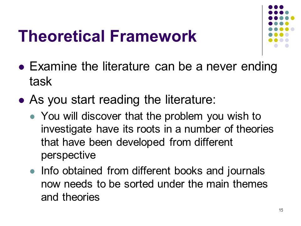 Theoretical Framework Examine the literature can be a never ending task As you start reading the literature: You will discover that the problem you wi