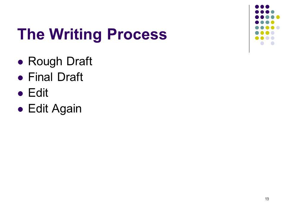 19 The Writing Process Rough Draft Final Draft Edit Edit Again