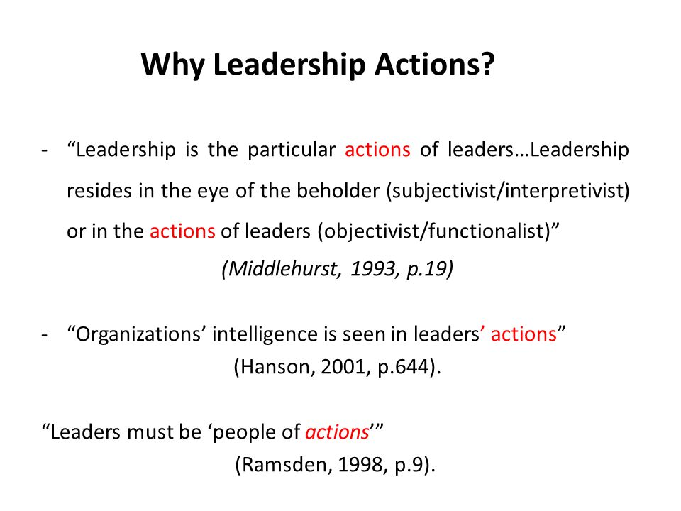 Why Leadership Actions.