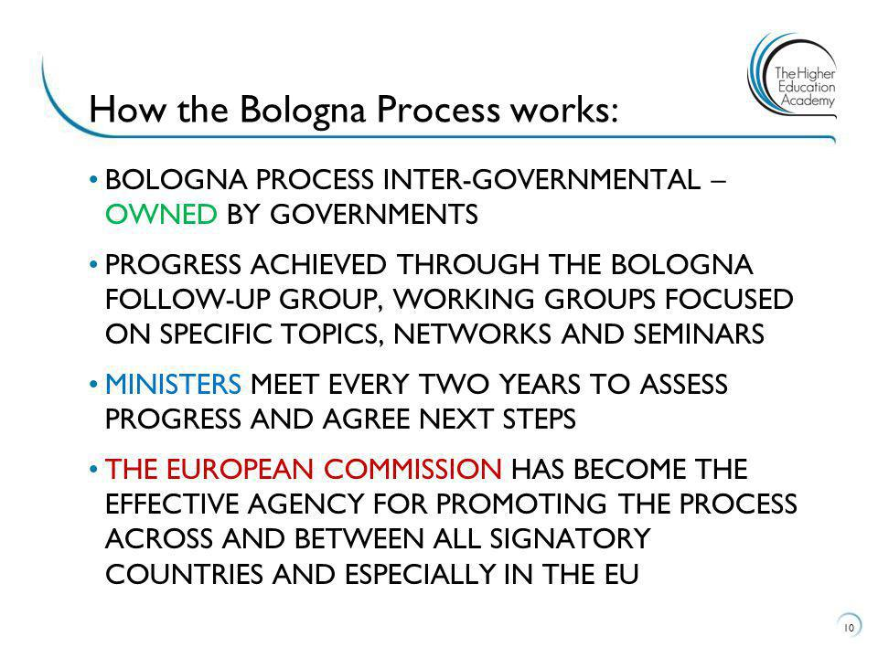 BOLOGNA PROCESS INTER-GOVERNMENTAL – OWNED BY GOVERNMENTS PROGRESS ACHIEVED THROUGH THE BOLOGNA FOLLOW-UP GROUP, WORKING GROUPS FOCUSED ON SPECIFIC TOPICS, NETWORKS AND SEMINARS MINISTERS MEET EVERY TWO YEARS TO ASSESS PROGRESS AND AGREE NEXT STEPS THE EUROPEAN COMMISSION HAS BECOME THE EFFECTIVE AGENCY FOR PROMOTING THE PROCESS ACROSS AND BETWEEN ALL SIGNATORY COUNTRIES AND ESPECIALLY IN THE EU 10 How the Bologna Process works: